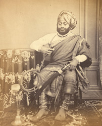 Studio portrait of a Kathiawar Rajput, at Bombay.